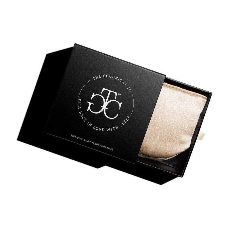 The Goodnight Co mulberry silk sleep mask - shimmering nude - box