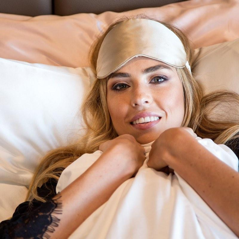 The Goodnight Co mulberry silk sleep mask - shimmering nude - wear