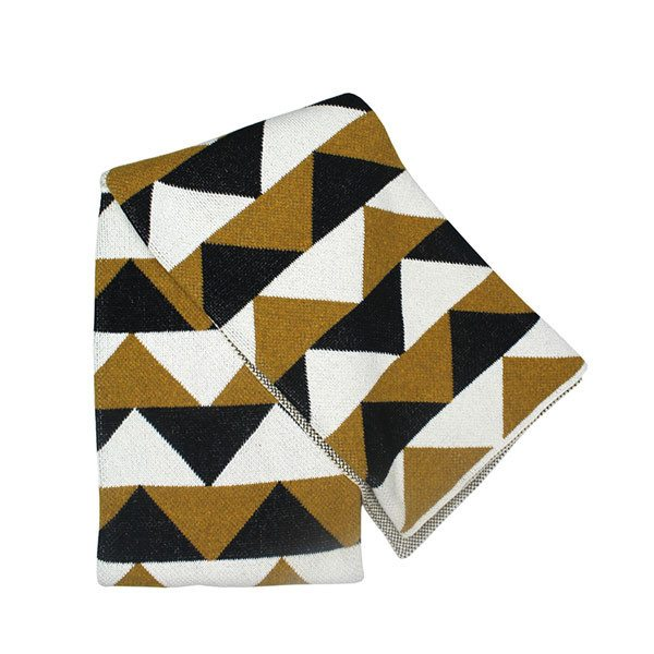Happy Habitat triangles throw (gold) - decorative - mondocherry - home : style : design - 1