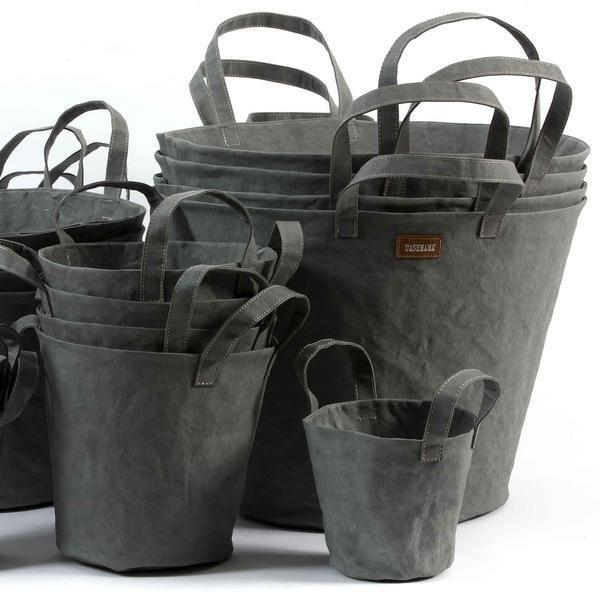 Paper Bucket Dark Grey-paper bucket-uashmama-mondocherry