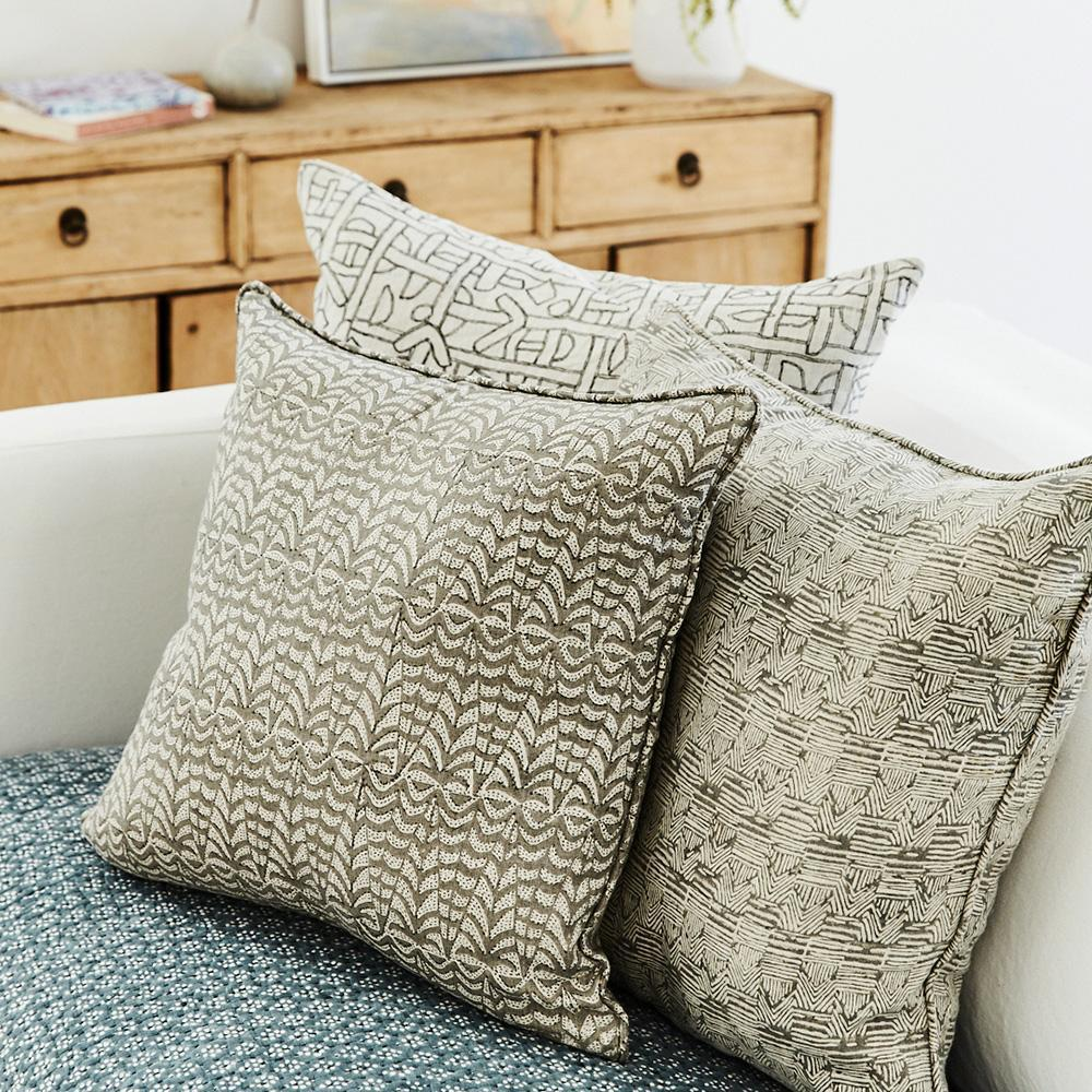 Walter G | panarea linen cushion | mud - stack