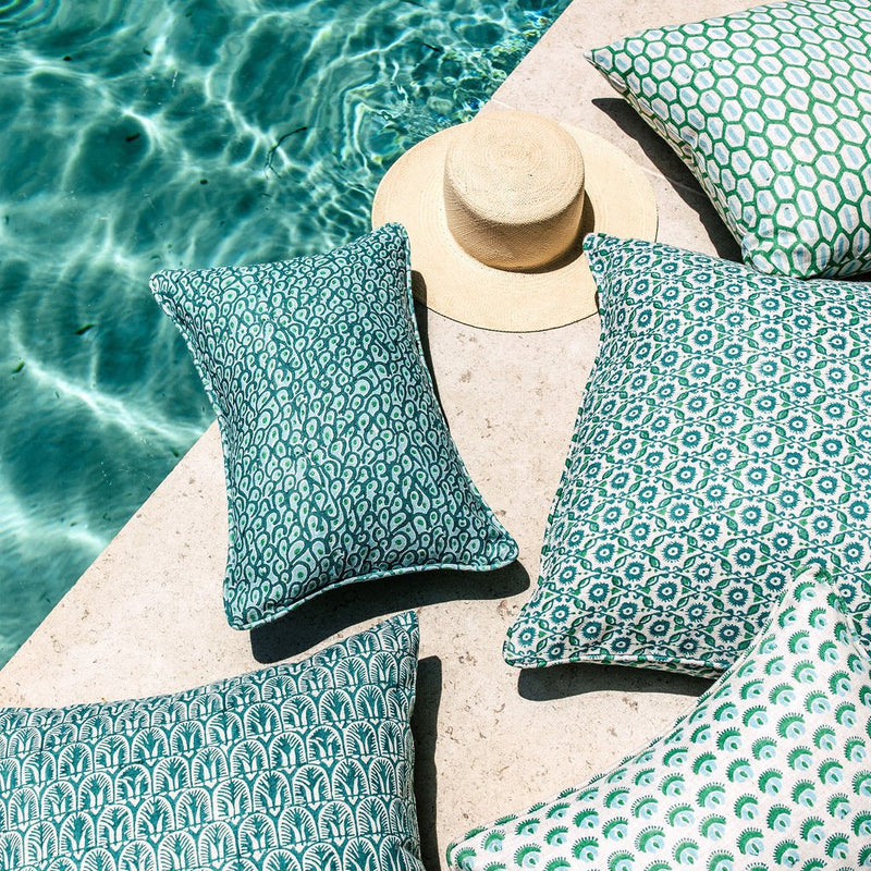Walter G | suzani linen cushion | emerald - pool