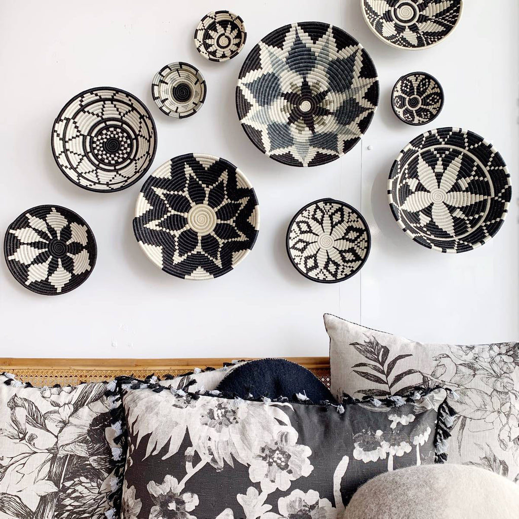 african basket collection - wall decor - black white