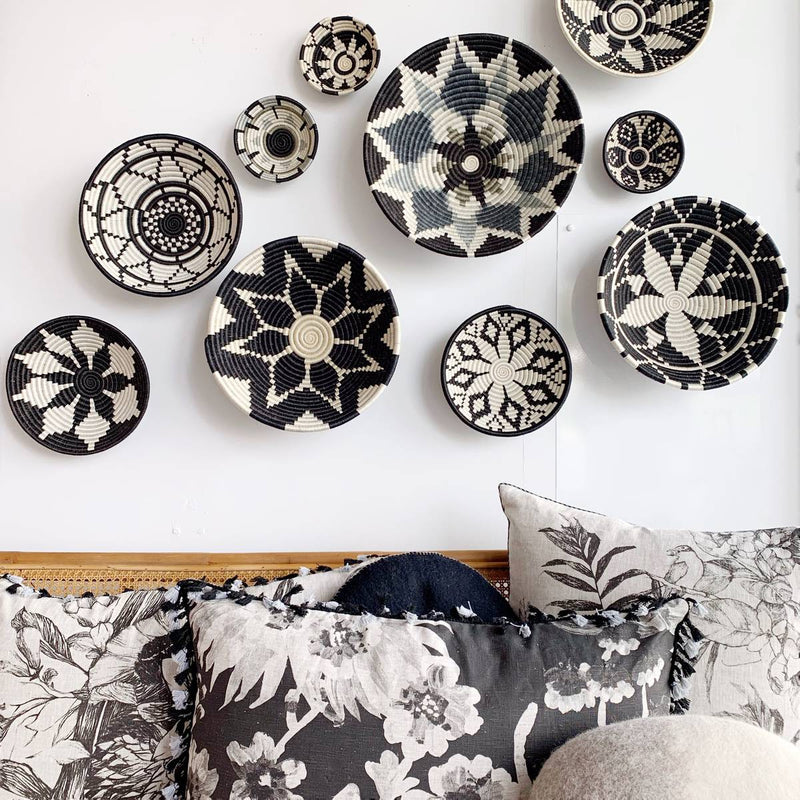 african woven bowl collection - wall decor - black white
