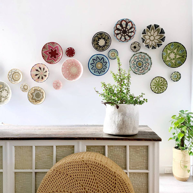 african woven baskets - wall decor - colour