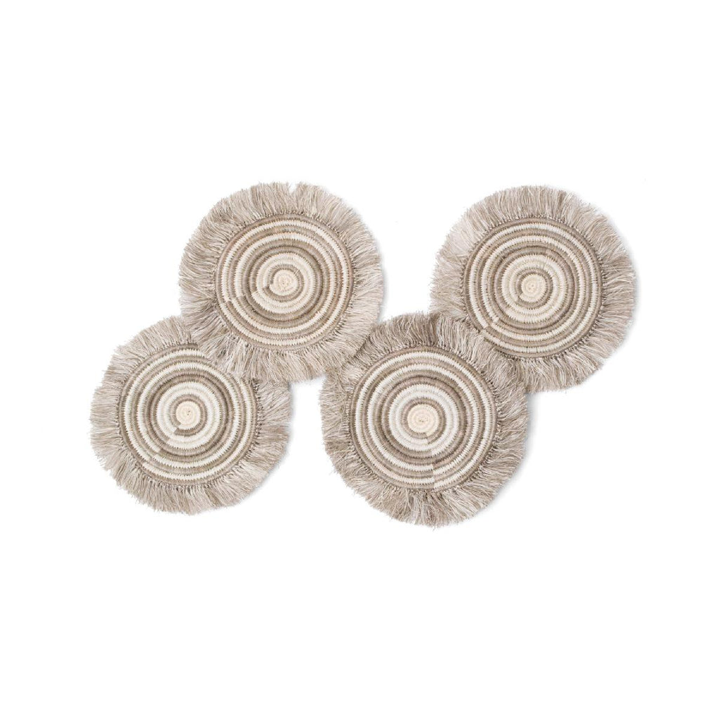 "African woven fringed coasters ""Geo"" 