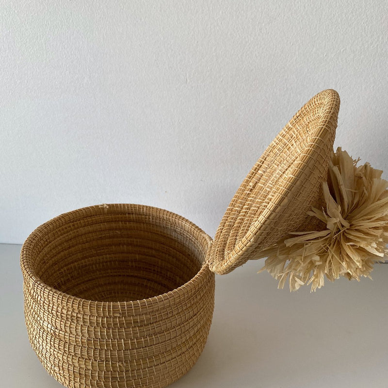 African woven pom pom box | natural #1 - open