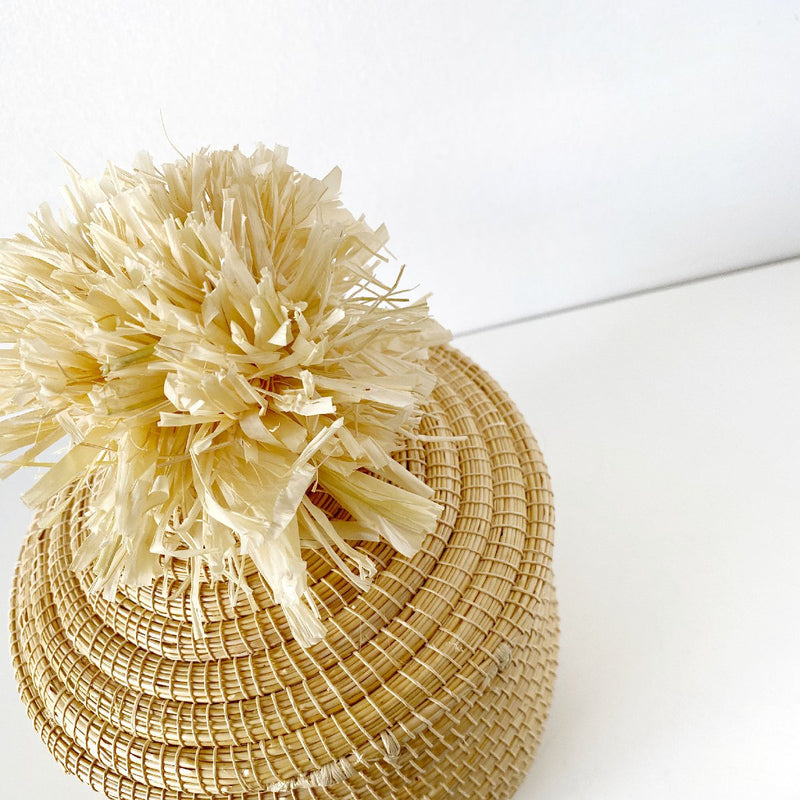African woven pom pom box | natural #1 - top