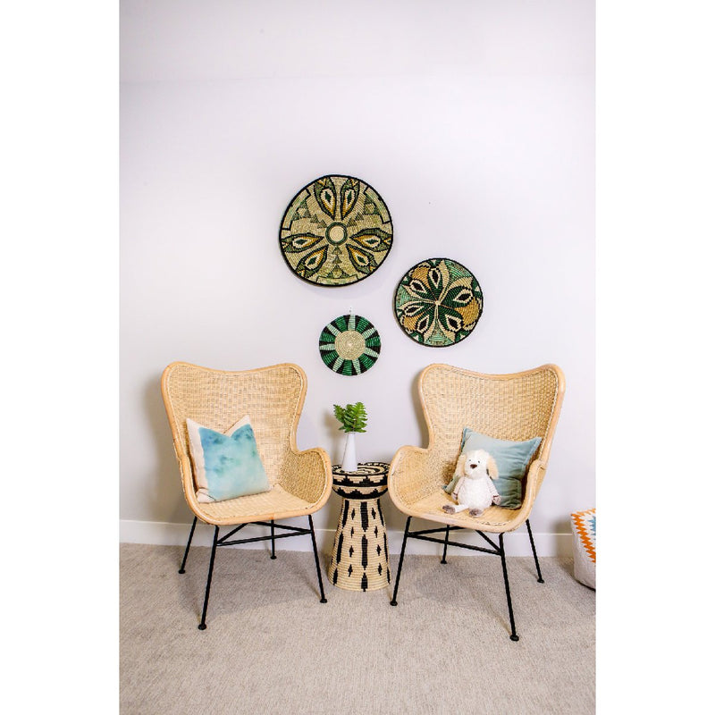 African woven wall art plates on wall | ivy