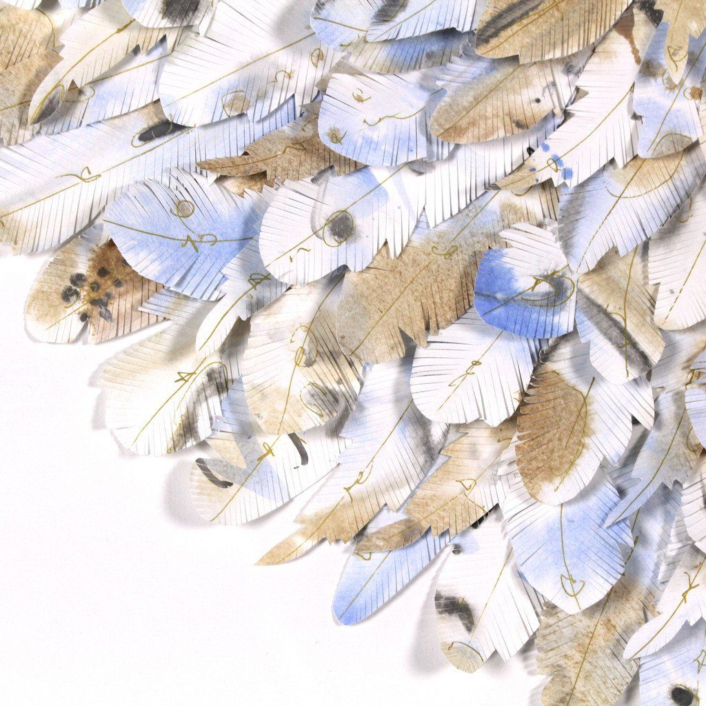 "mondocherry - juju hat paper feather artwork - ""azure winged magpie"" - closeup"
