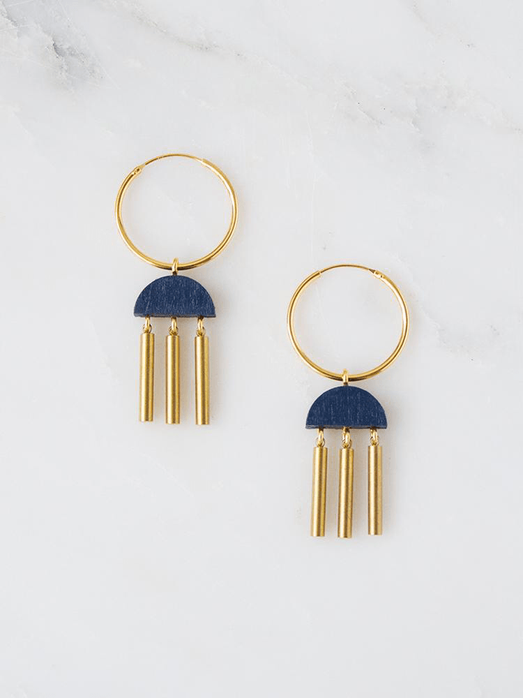 Jewellery - Wolf and Moon | dusk hoops | midnight blue - mondocherry
