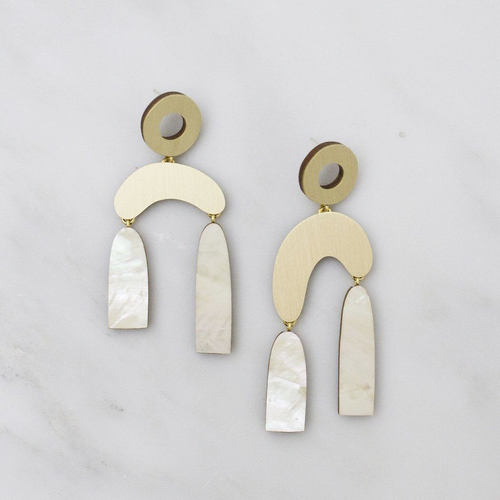 Jewellery - Wolf and Moon | balance earrings | mother of pearl - mondocherry