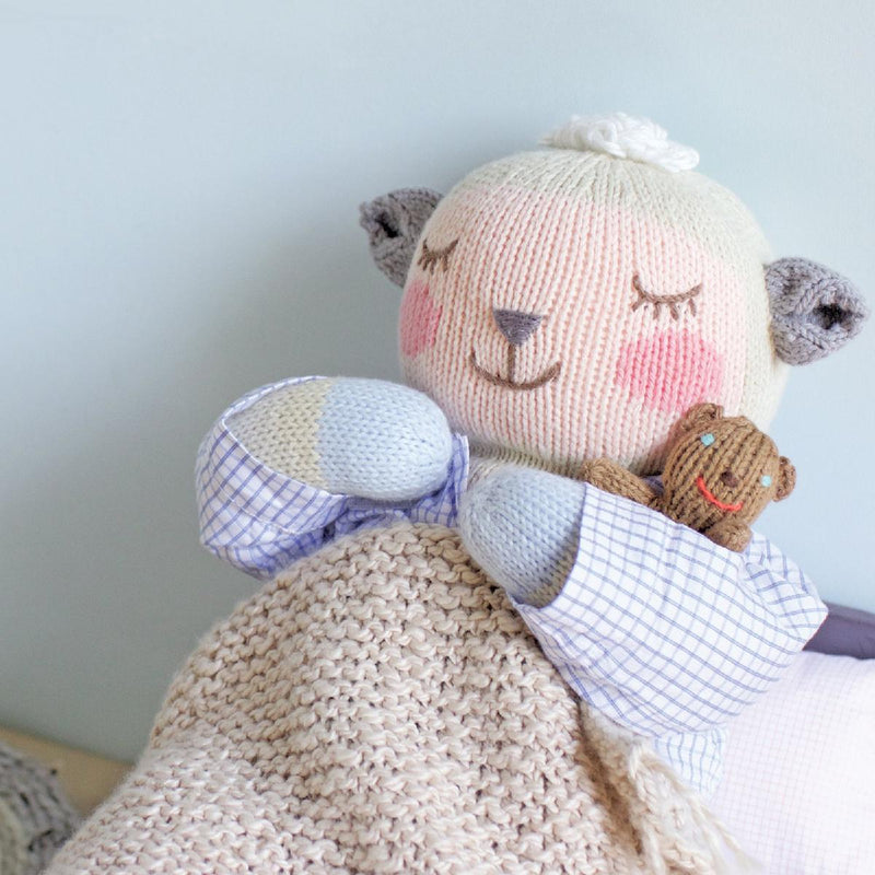 "Blabla | ""Woolly"" kids cotton doll - asleep"