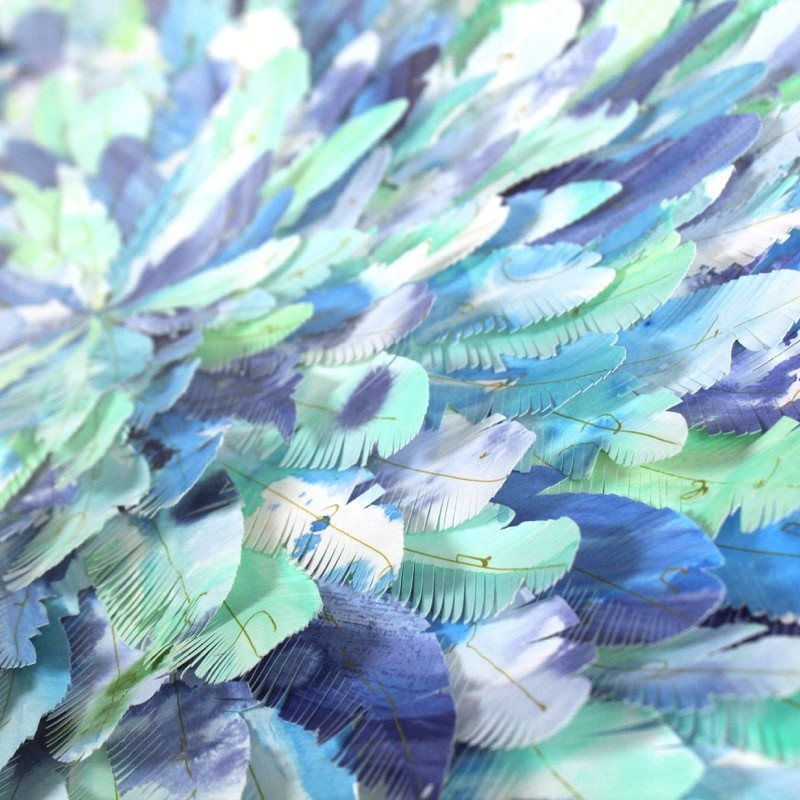 "mondocherry - juju hat paper feather artwork - ""blue dacnis"" - closeup"