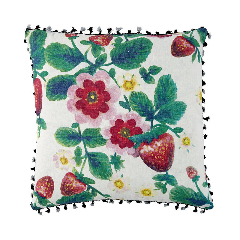 Bonnie and Neil linen cushion - strawberries - multicolour - front