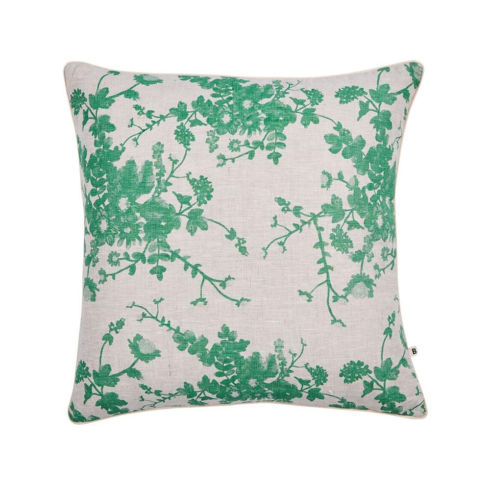 Bonnie and Neil oat linen cushion - field floral sage green