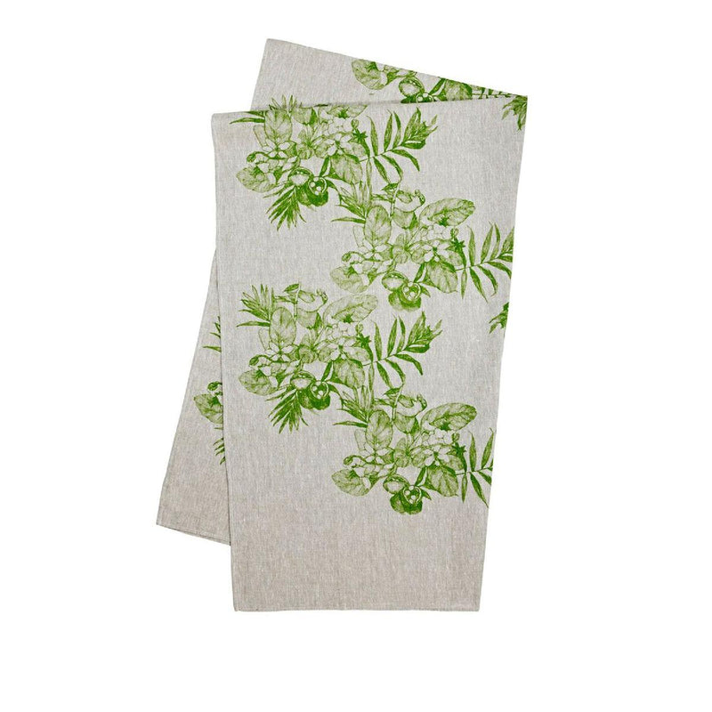 Bonnie and Neil | chintz teatowel | green