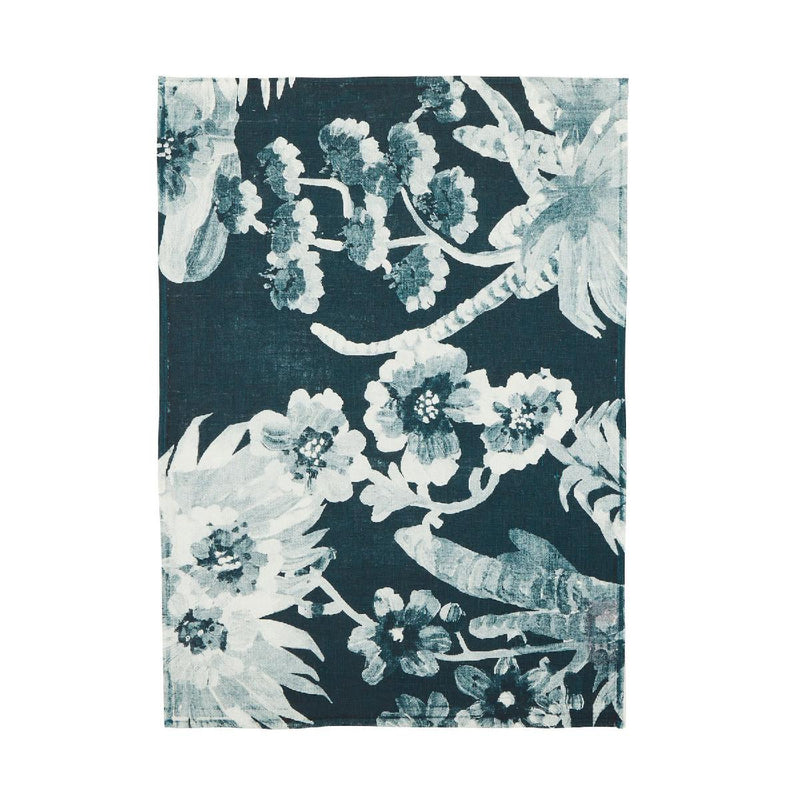 Bonnie and Neil linen teatowel - orchid - indigo