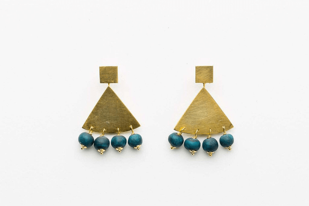 Jewellery - Klaylife | zahara triangle earrings | deep teal,gold - mondocherry