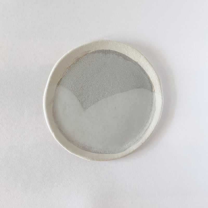 Clay Beehive | handmade ceramic plate | two greys | 16cm