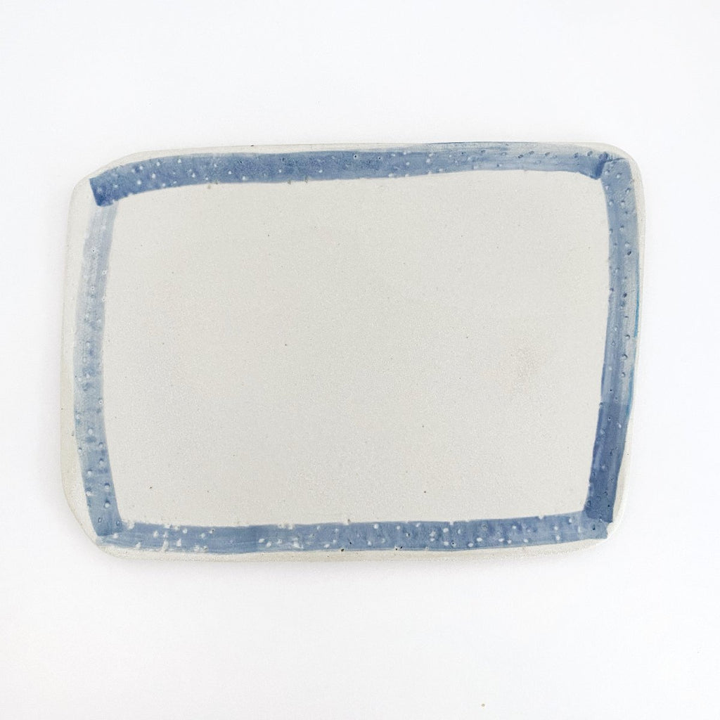 Clay Beehive | ceramic rectangle plate | blue rim