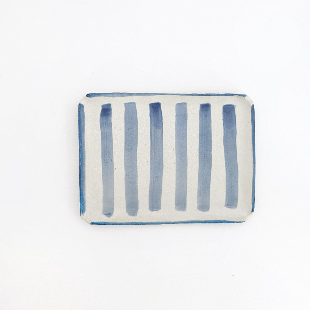 Clay Beehive | ceramic rectangle plate | stripes 2