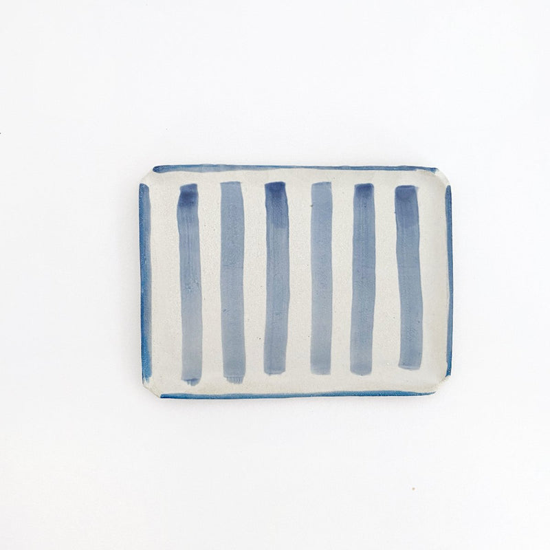 Clay Beehive | ceramic rectangle plate | stripes 1