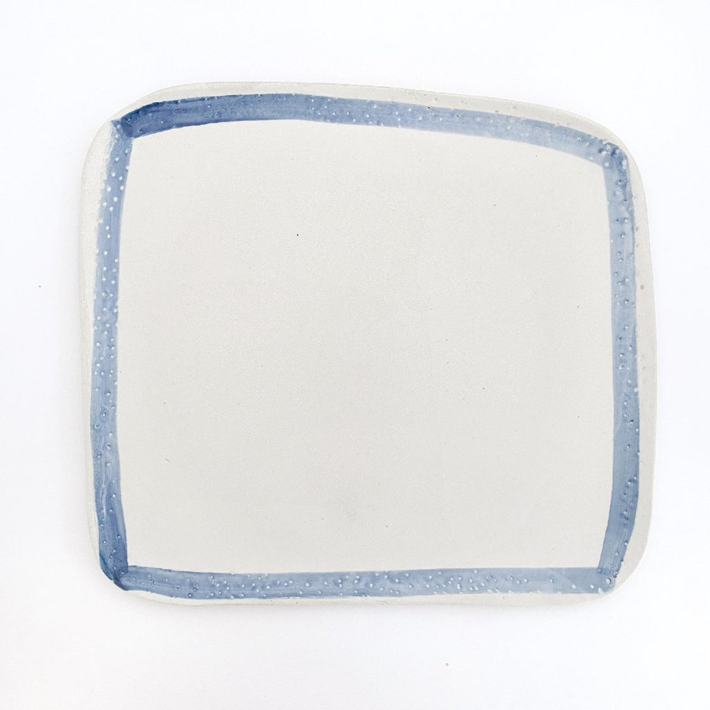 Clay Beehive | ceramic square plate | blue rim 1