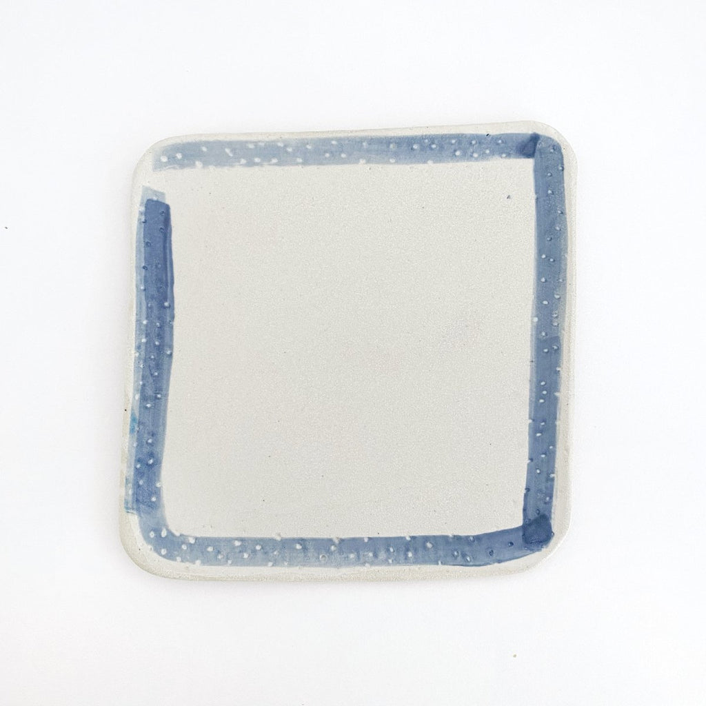 Clay Beehive | ceramic square plate | blue rim 2