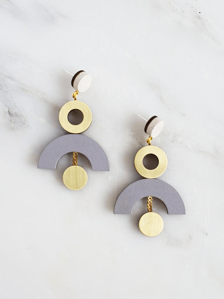 Jewellery - Wolf and Moon | phase earrings | ecru/dove grey - mondocherry