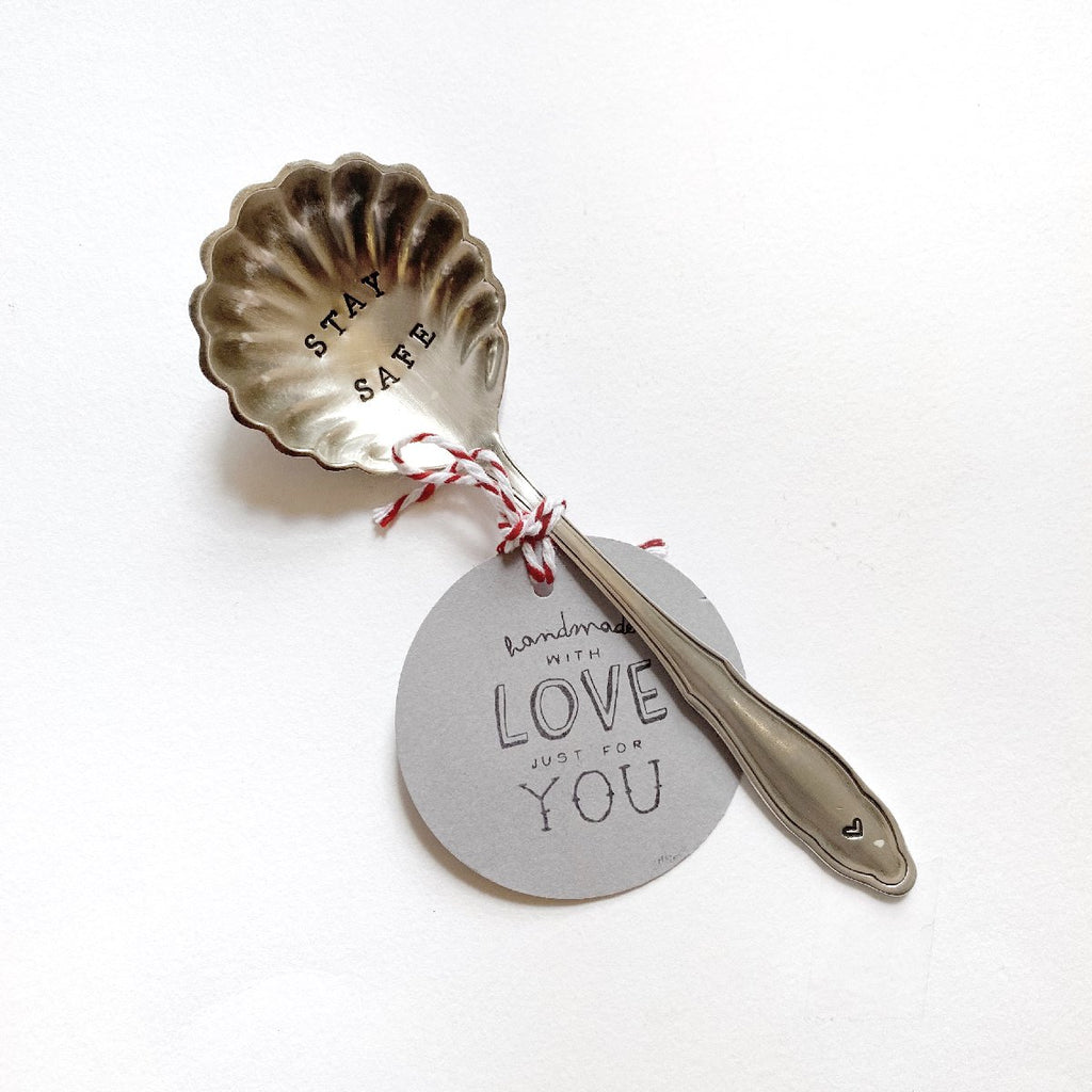"antique silverware | dessert spoon | ""stay safe"""