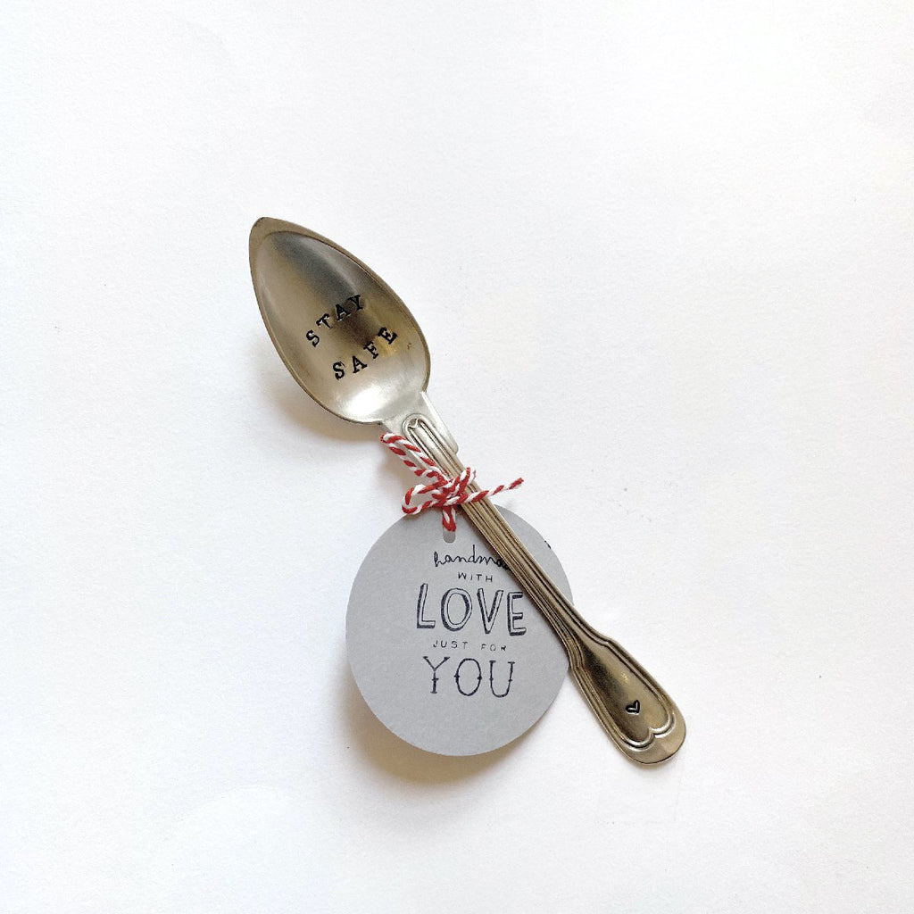 "antique silverware | teaspoon | ""stay safe"""