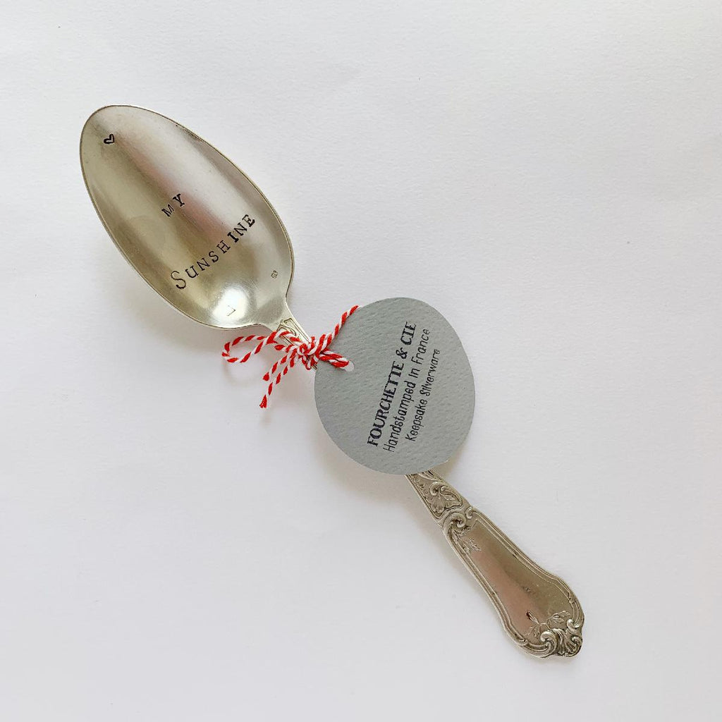 "antique silverware large spoon | ""my sunshine"" - fc181"