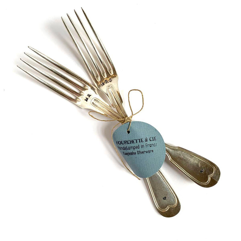 "antique silverware fork set | ""Mr and Mrs"""