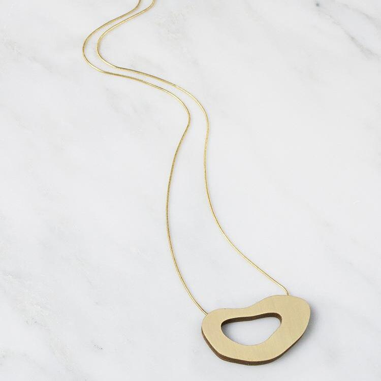 Jewellery - Wolf and Moon | hepworth II necklace | brushed brass - mondocherry