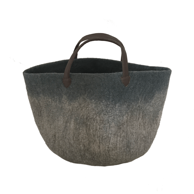 Muskhane basket with leather handles (gris orage/light stone)-felt basket-muskhane-mondocherry