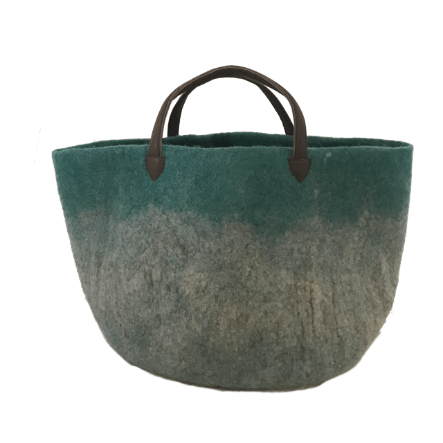 Muskhane basket with leather handles (turquoise pastel/light stone)-felt basket-muskhane-mondocherry
