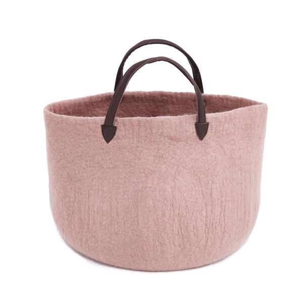 felt basket - Muskhane | basket with leather handles | rose quartz - mondocherry