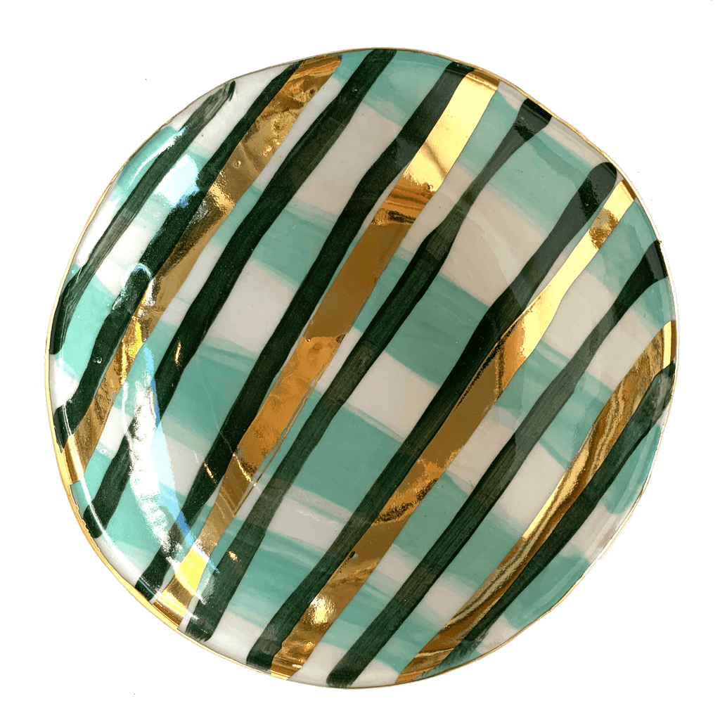 Carla Dinnage Ceramic Bowl 44 Gold Green