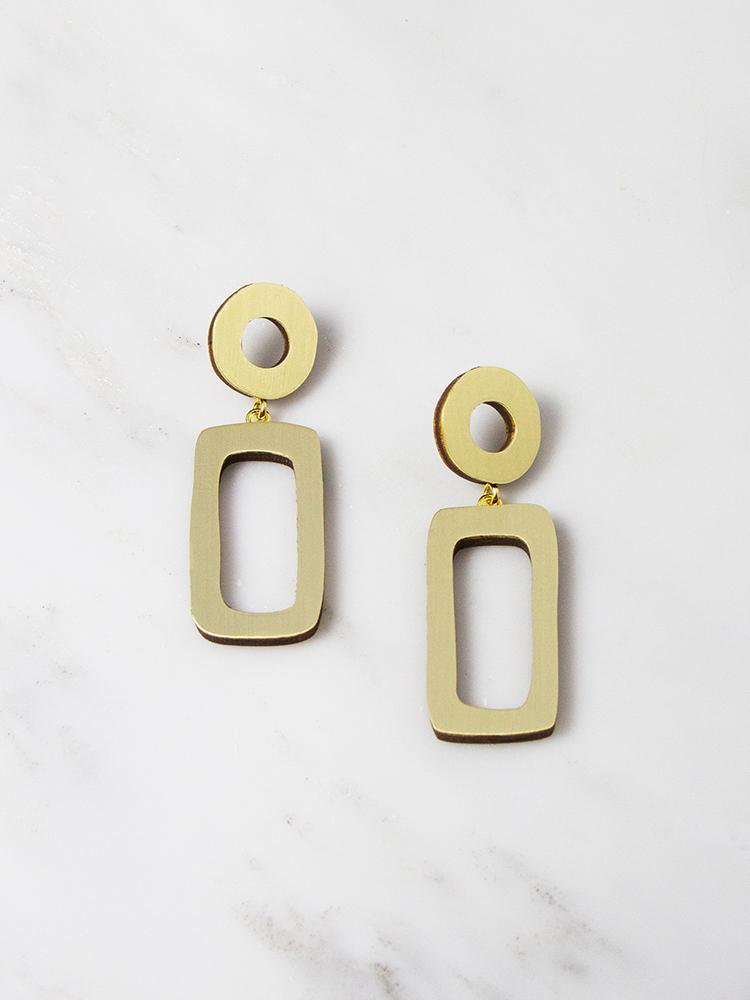 jewellery - Wolf and Moon | ellsworth drop earrings | brushed brass - mondocherry