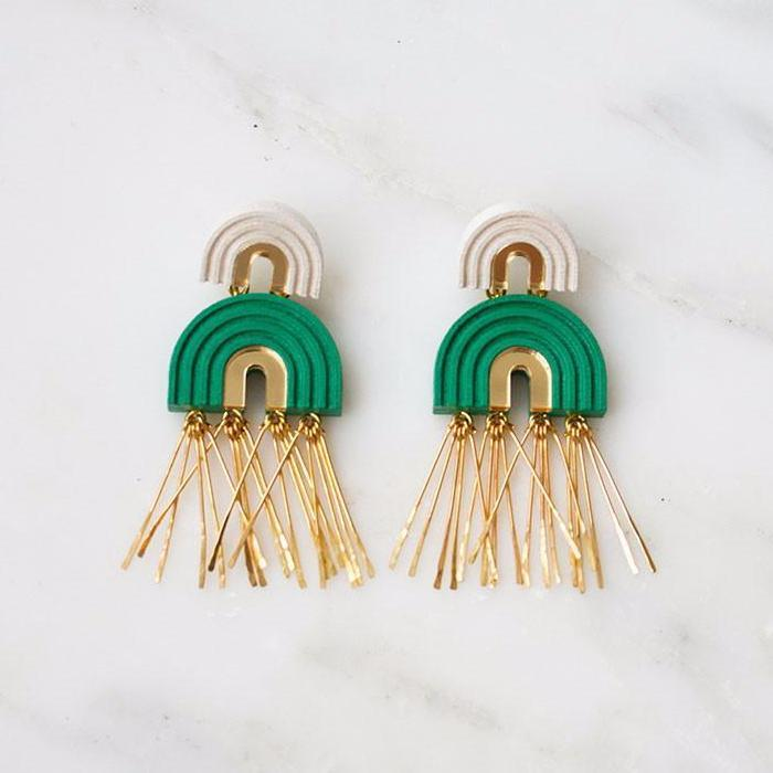 jewellery - Wolf and Moon | two arch tassel earrings | emerald - mondocherry