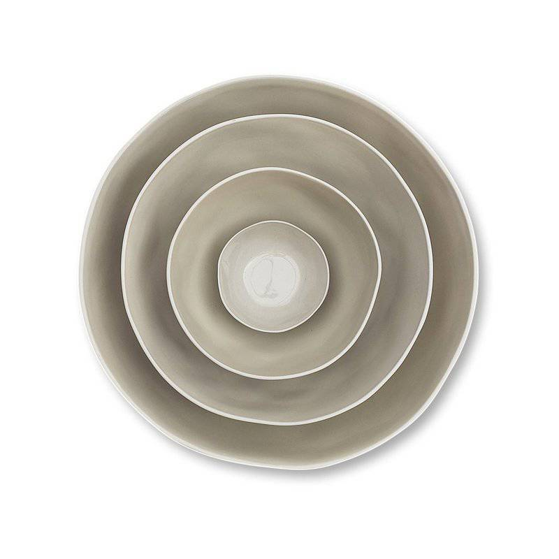 Marmoset Found cloud ceramic bowl - dove - stacked