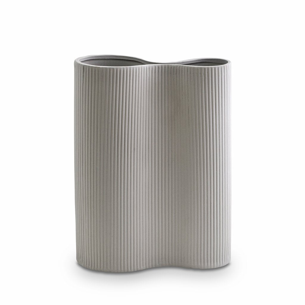 Marmoset Found | ribbed infinity ceramic vase | light grey | medium