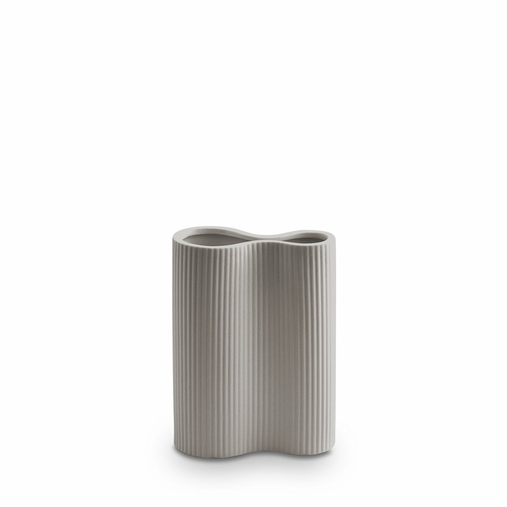 Marmoset Found | ribbed infinity ceramic vase | light grey | small