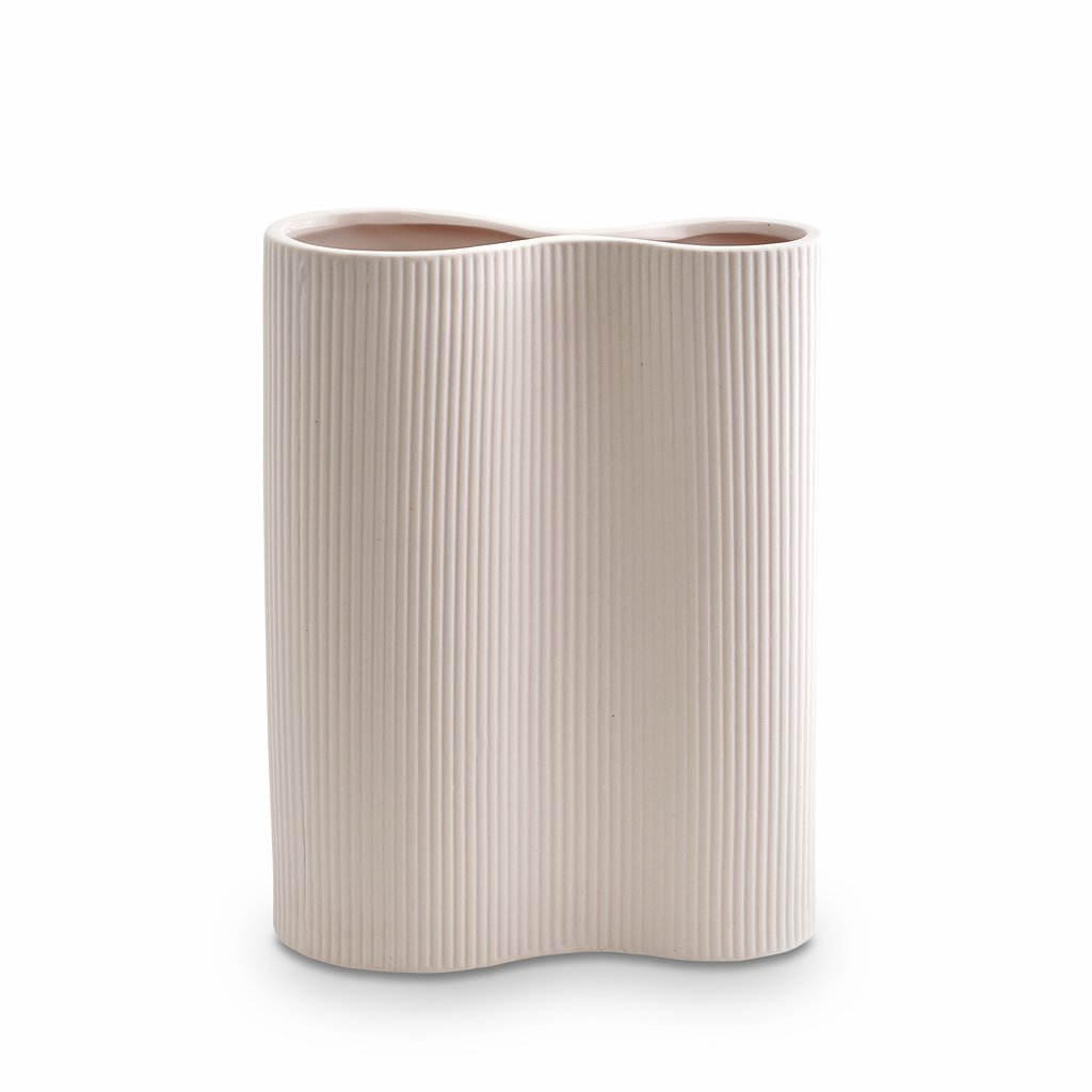 Marmoset Found | ribbed infinity ceramic vase | nude | medium