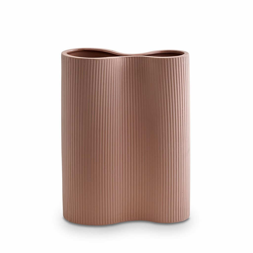 Marmoset Found | ribbed infinity ceramic vase | ochre | medium