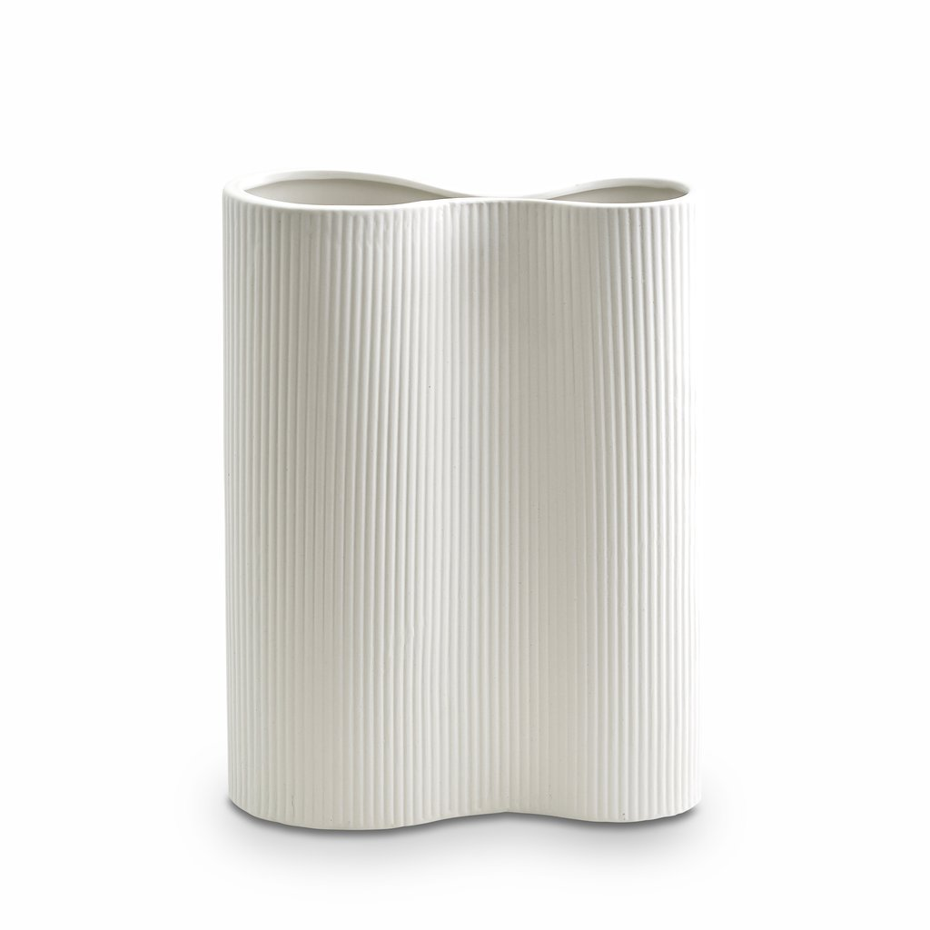 Marmoset Found | ribbed infinity ceramic vase | snow | medium