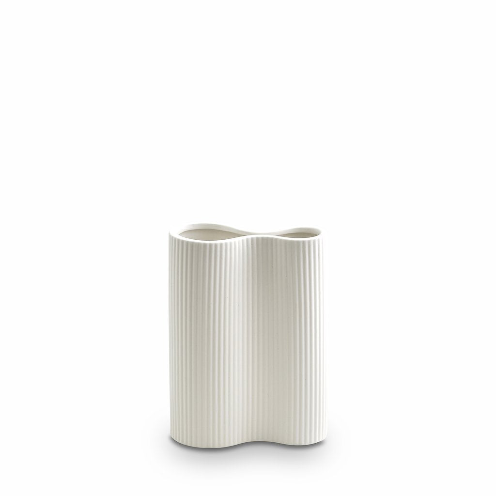 Marmoset Found | ribbed infinity ceramic vase | snow | small