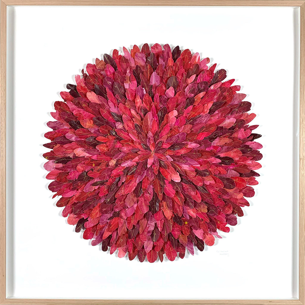 """red avadavat"" - paper feather framed wall art"
