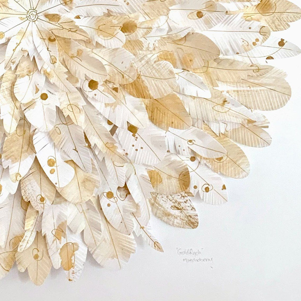 mondocherry gold finch paper feather wall art closeup